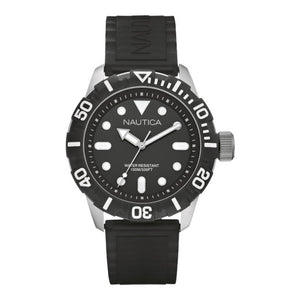 Nautica Men's Analog Quartz 100m Stainless Steel Black Jelly Resin Watch N09600G
