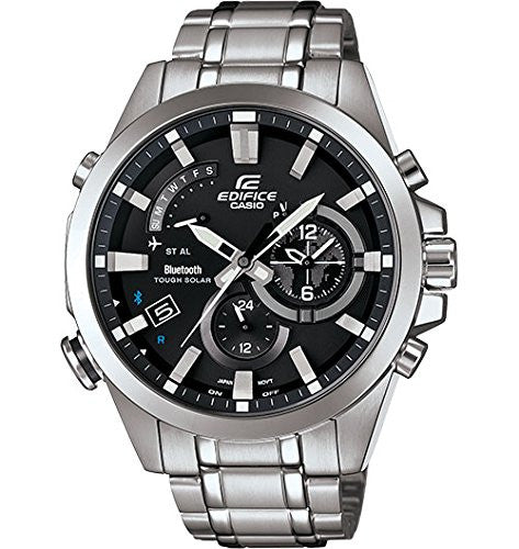 Casio Men's Chronograph Mobile Link Solar Stainless Steel Watch EQB510D-1A