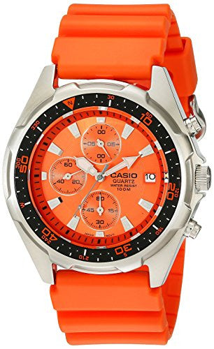 Casio Men's AMW380-4AV  Stainless Steel Watch with Orange Resin Band
