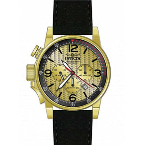 Invicta Men's I-Force Chronograph Lefty Gold Tone Black Leather Band Watch 20137