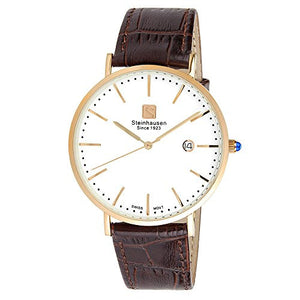 Steinhausen Men's Burgdorf Rose Gold Stainless Steel Brown Leather Watch S0522