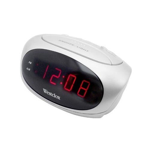 "Westclox 0.6"" LED Display Super Loud Alarm Snooze White Alarm Clock 70044B"