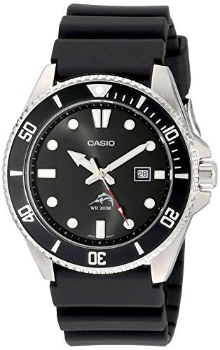 Casio Men's Duro Black Dial Plastic Resin Band Diver Watch MDV106-1A