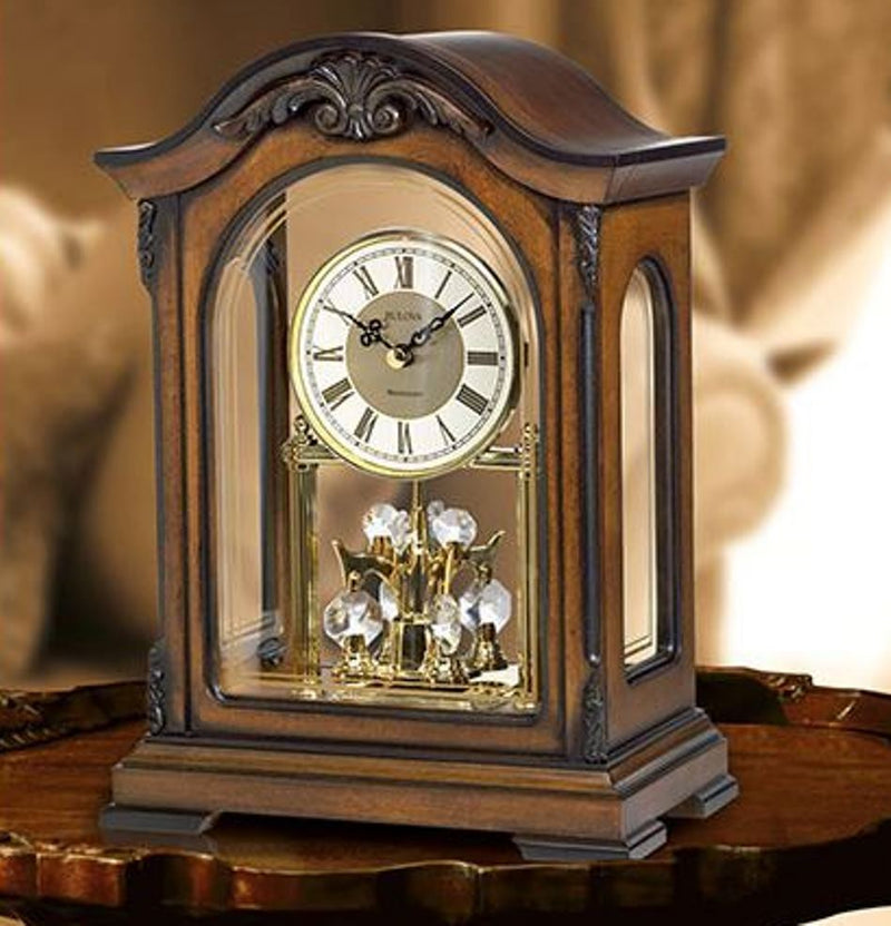 Bulova Durant Analog Quartz Solid Wood Case Pendulum Mantel Clock B1845