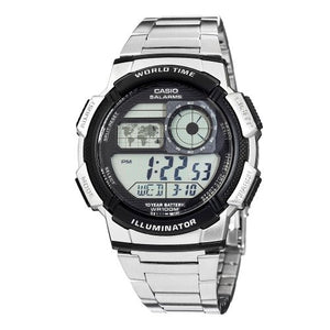 Casio Men's World Time Silver-Tone Bracelet Digital Sport Watch
