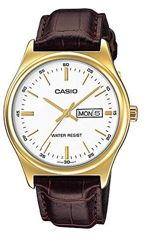 Casio Men's Mtp-v003gl-7a Day Date Quartz Watch with Genuine Leather