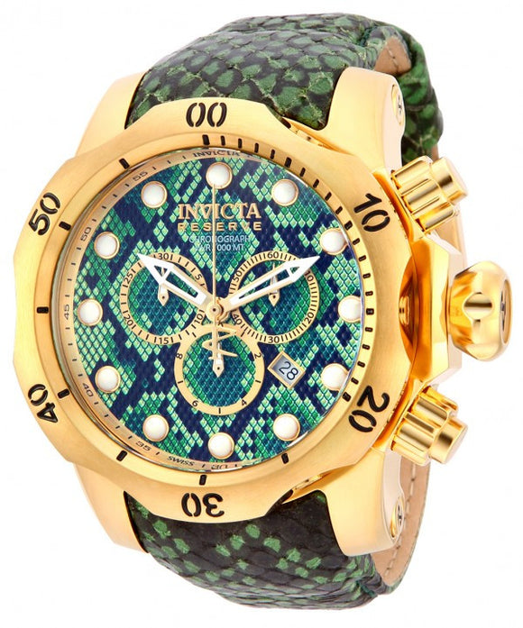 Invicta Men's Venom Chronograph Green Snake Pattern Leather Watch 14966