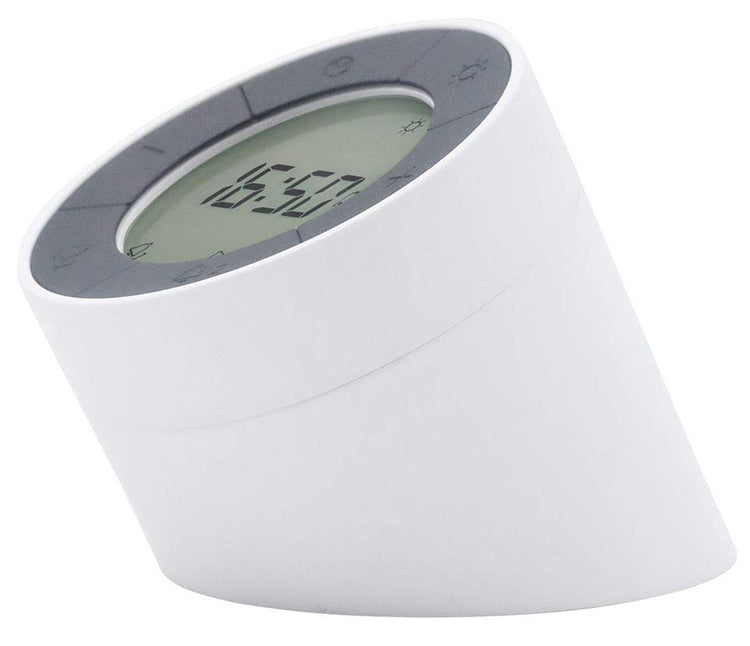 "Gingko Edge Click Clock 3"" x 3.5"" Time/Date/Temp Alarm Clock White"
