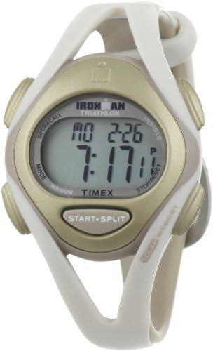 Timex Women's T5K450 Ironman Sleek 50-Lap White/Natural Resin Strap Watch