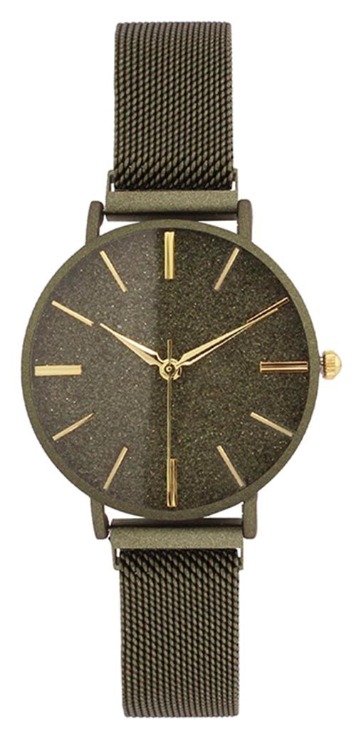 Geneva Women's Analog Quartz Olive Stainless Steel Mesh Watch 10182OLIVE