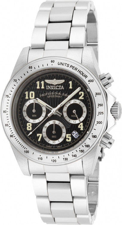 Invicta Men's Speedway Stainless Steel Chronograph Black Dial Watch 17025