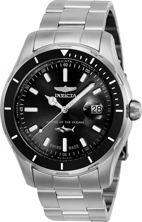 Invicta Men's Pro Diver Quartz 100m Stainless Steel Black Dial Watch 25806
