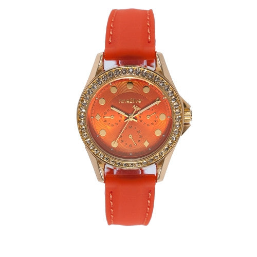 Nine2Five Women's Tress Chronograph Quartz Orange Silicone Watch ATSS08NJNJ