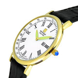 Steinhausen Men's Altdorf Gold Tone Stainless Steel Black Leather Watch S0123