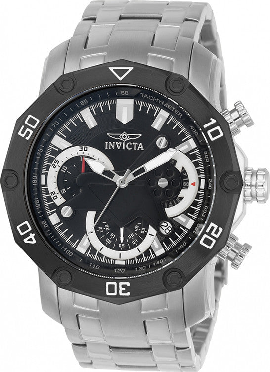 Invicta Men's Pro Diver 100m Chronograph Black Dial Stainless Steel Watch 22760