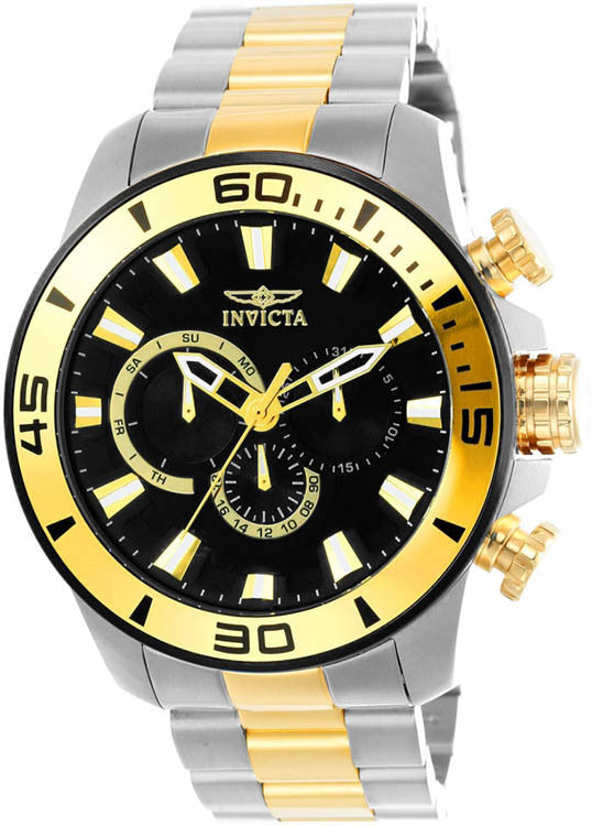 Invicta Men's Pro Diver Quartz Chrono 100m Two Tone Stainless Steel Watch 22588