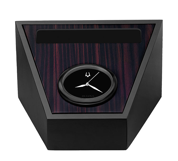 Bulova Executive Analog Aluminum / Wood Veneer Ebony Dial Tabletop Clock B5004
