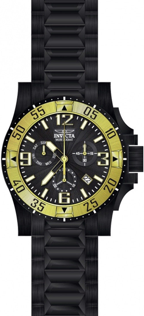 Invicta Men's Excursion Chrono Quartz 200m Black Stainless Steel Watch 23906