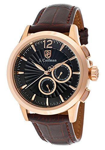 S. Coifman Men's Chrono Quartz Rose Gold Plated Case Brown Leather Watch SC0265