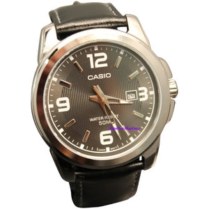 Casio Men's MTP1314L-8AV Black Leather Quartz Watch with Black Dial