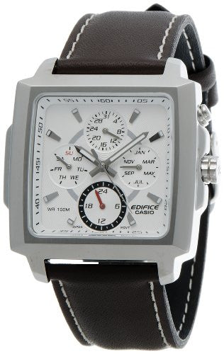 Casio Men's Edifice Chronograph Stainless Steel Brown Leather Watch EF324L-7AV