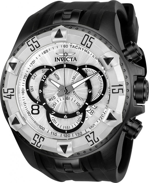 Invicta Men's Excursion Chrono 200m Black Stainless Steel Silicone Watch 24278