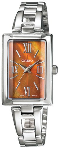 Casio Women's Core LTP1341D-5A Silver Stainless-Steel Quartz Watch with Orange Dial