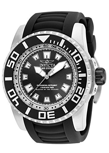 Invicta Men's Pro Diver 200m Analog Quartz Black Polyurethane Watch 14660