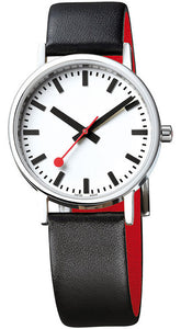 Mondaine Men's Classic Stainless Steel Black/Red Leather Watch A660.30314.16OM