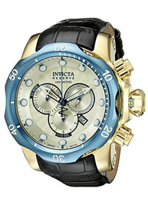 Invicta Men's Venom Chronograph 1000m Stainless Steel Black Leather Watch 16682