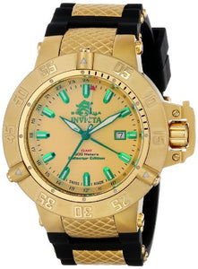 Invicta Men's Subaqua Gold Plated Stainless Steel Black Polyurethane Watch 13921