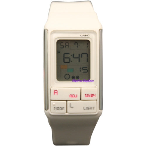 Casio Women's LDF52-7A White Resin Quartz Watch with Digital Dial