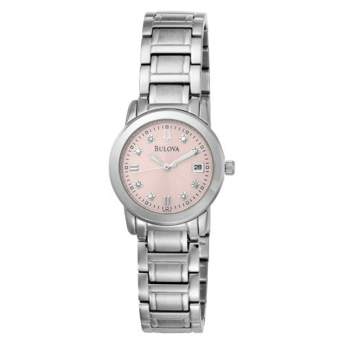 Bulova Women's 96P106 Diamond Accented Dial Bracelet Pink Dial Watch