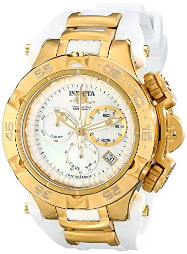 Invicta Women's Subaqua Chronograph 500m Gold-Tone and White Watch 17235