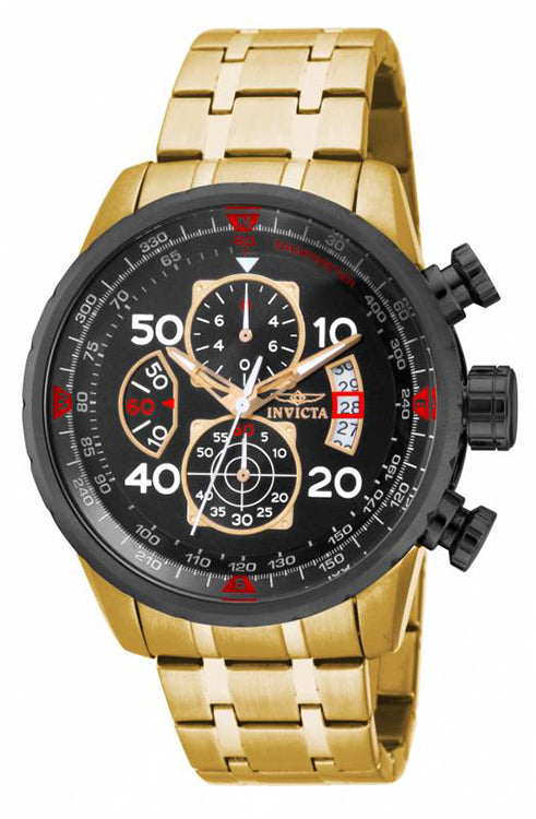 Invicta Men's Aviator Chronograph 100m Gold-Plated Stainless Steel Watch 17206