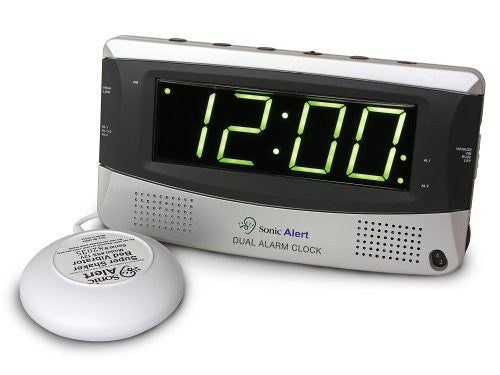 "Sonic Alert 1.8"" LED Display Snooze Super Shaker Dual Alarm Clock SBD375SS"