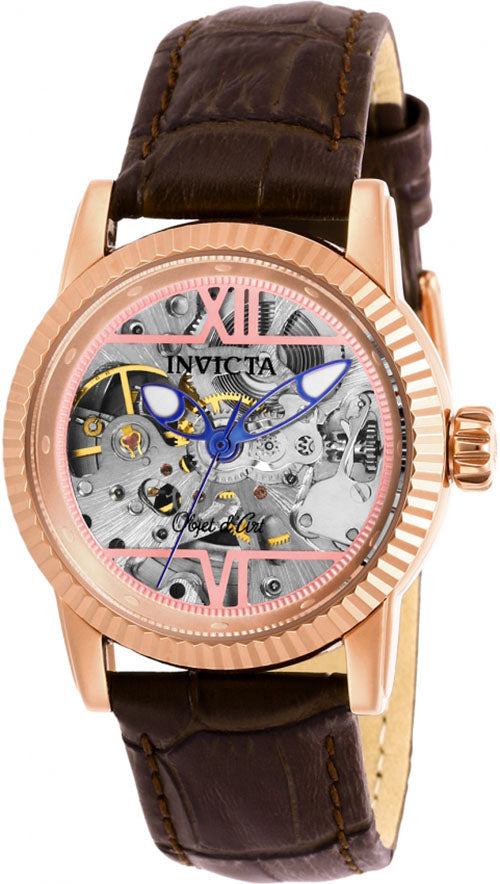 Invicta Women's Objet D'Art Automatic Stainless Steel/Brown Leather Watch 26350