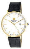 Steinhausen Men's Burgdorf Gold Tone Stainless Steel Black Leather Watch S0521