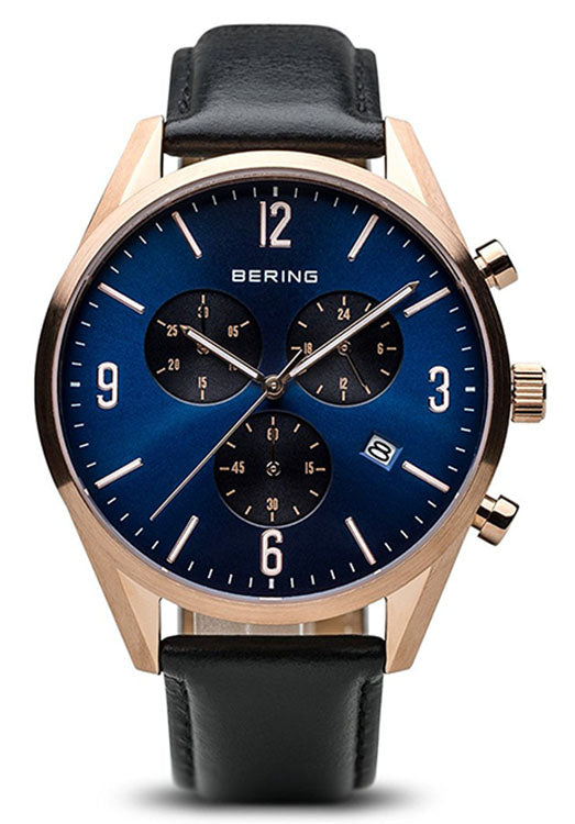 Bering Men's Chronograph Rose Gold Plated Leather Band Watch 10542-567