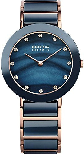 Bering Women's Rose Gold Tone Stainless Steel Blue Ceramic Watch 11435-767