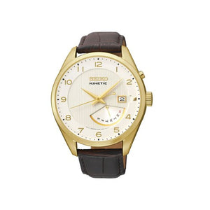 Seiko SRN052 Brown Leather Gold Bezel Kinetic Men's Watch