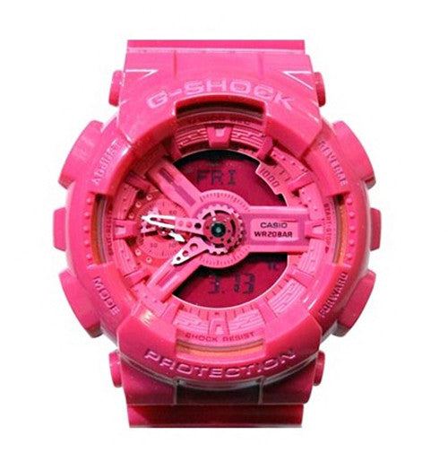 Casio G-Shock S Series Analog-Digital Pink Resin Band Watch GMAS110CC-4A