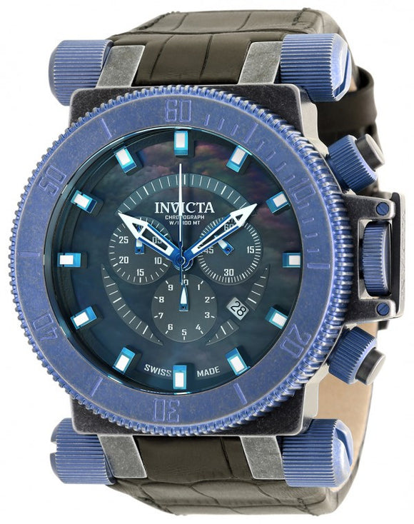 Invicta Men's Coalition Forces Chrono Stainless Steel Black Leather Watch 18464