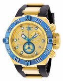Invicta Men Subaqua Chrono 500m Gold Plated Case Black Polyurethane Watch 16983