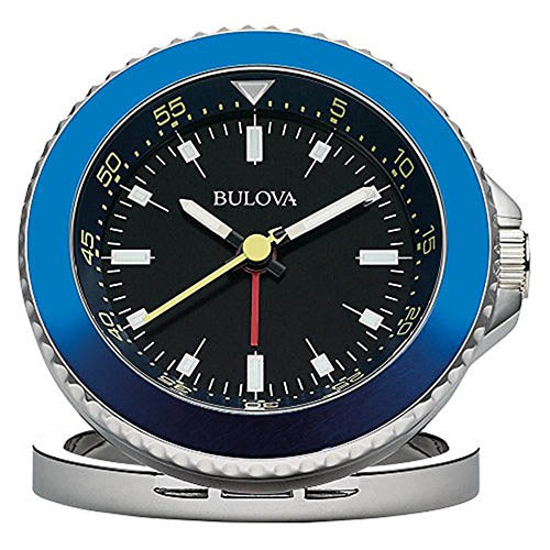 Bulova Diver Travel Clock Stainless Steel Case/ Blue Metal Frame B6126