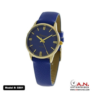 Geneva Blue Leather Watch 5801