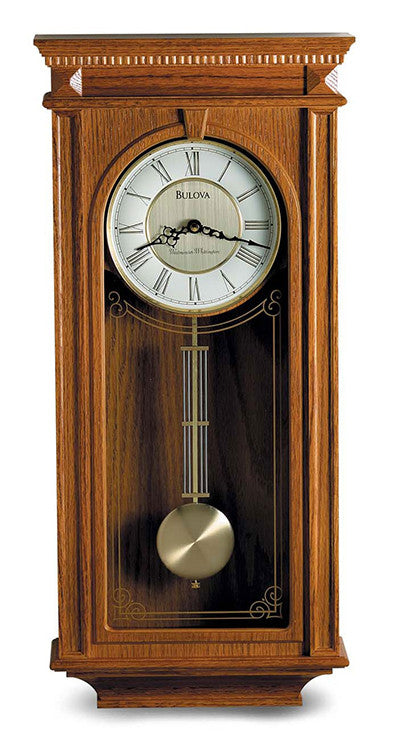 Bulova Manorcourt Hardwood Golden Oak Finish Chime Pendulum Wall Clock C4419