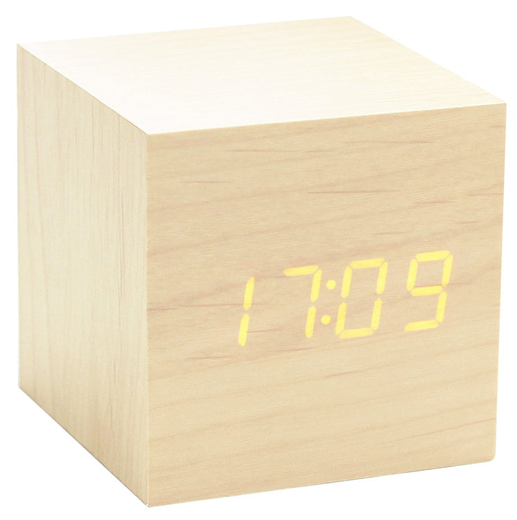 Gingko Cube Click Clock Maple/Orange LED Alarm Clock