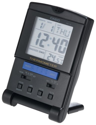 Casio Digital Travel Alarm Clock With Thermometer (Black) PQ15-1K