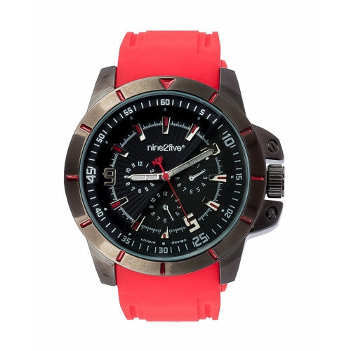 Nine2Five Men's Chrono Quartz Black Alloy Case Red Silicone Watch AACR08RJNG